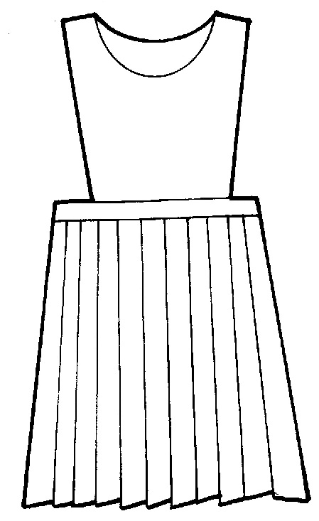 Line Drawing Jumper : Jumper pinafore top knife pleats polyester