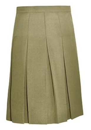 #1143 Knife Pleat Skirt - Traditional Waist - Poly/Rayon - Khaki