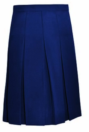 #1143 Knife Pleat Skirt - Traditional Waist - Poly/Rayon - Navy Blue