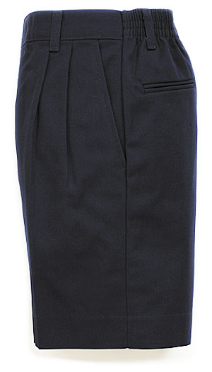 Boys Twill Shorts - Pleated Front, Elastic Back - #1286 - Navy Blue