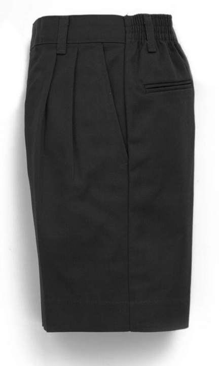 Boys Twill Shorts - Pleated Front, Elastic Back - #1286 - Black
