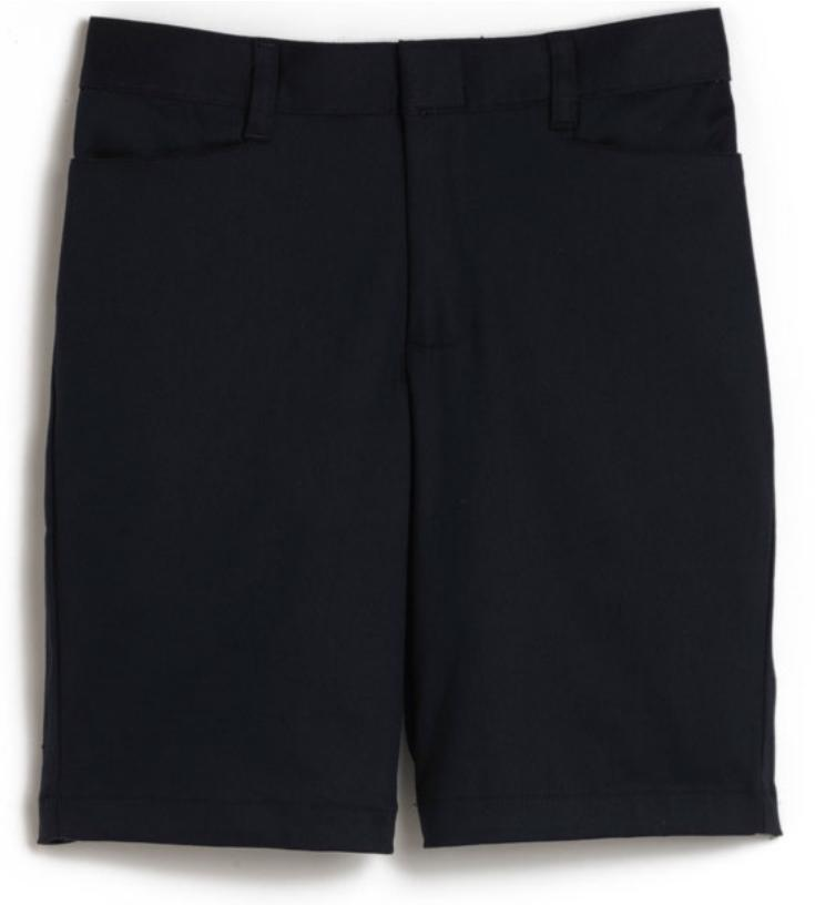 Girls Mid-Rise Bermuda Shorts - Stretch - Flat Front - #2444 - Navy Blue