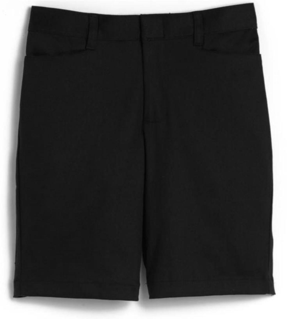 Girls Mid-Rise Bermuda Shorts - Stretch - Flat Front - #2444 - Black