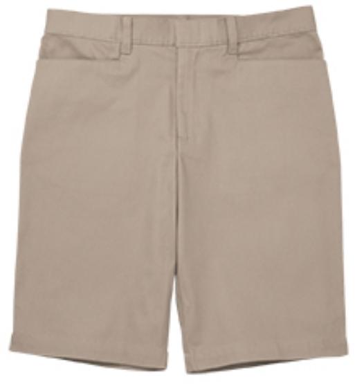 Girls Mid-Rise Bermuda Shorts - Stretch - Flat Front - #2444 - Khaki