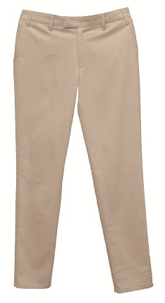 Girls Mid-Rise Slender Fit Flat Front Pants with Stretch #2526 - Khaki