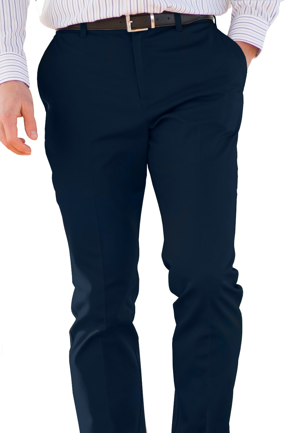 Men's Flat Front Slim Chino Pants - Navy Blue
