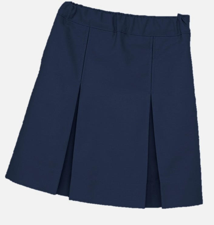 Traditional Waist Skirt - Box Pleats - Poly/Cotton - K-12 Brand #2660 - Navy Blue