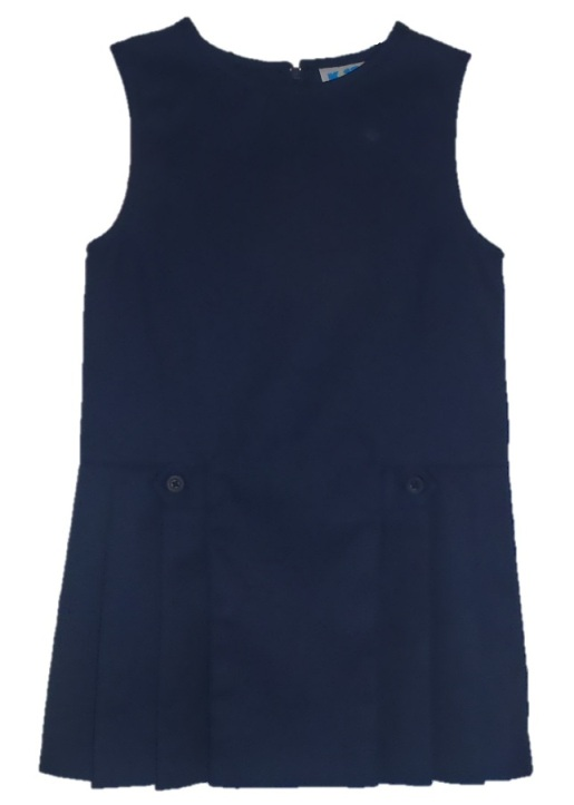 Drop Waist Pleated Jumper with Button Tabs #2762 - Navy Blue