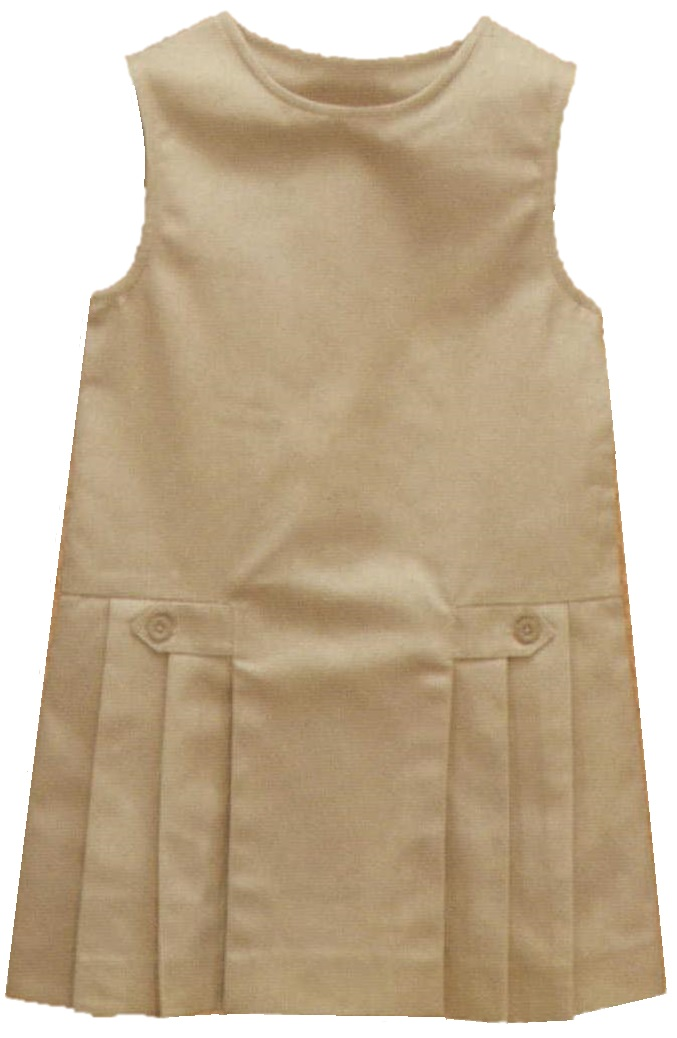 Drop Waist Pleated Jumper with Button Tabs #2762 - Khaki