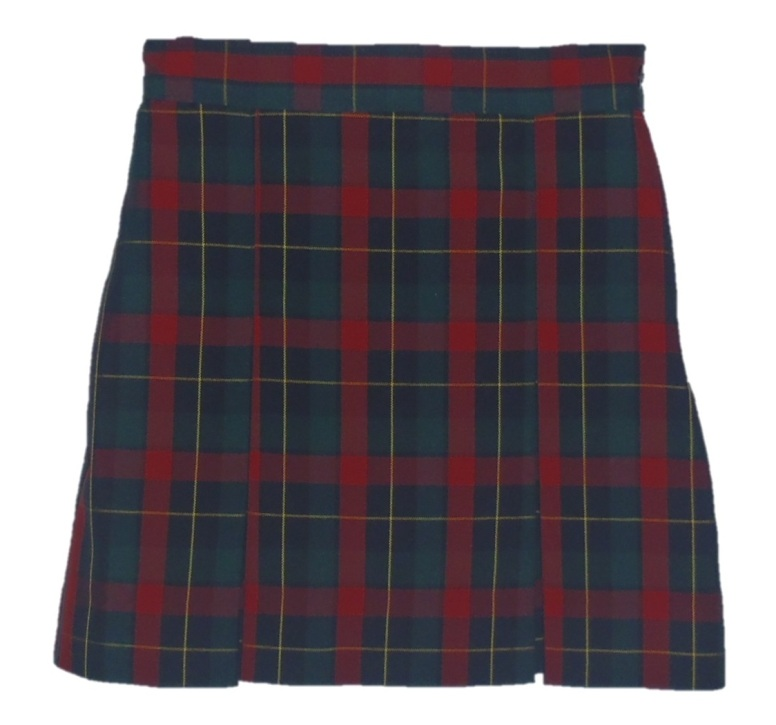 Traditional Waist Skirt - Box Pleats - 100% Polyester - Plaid #66