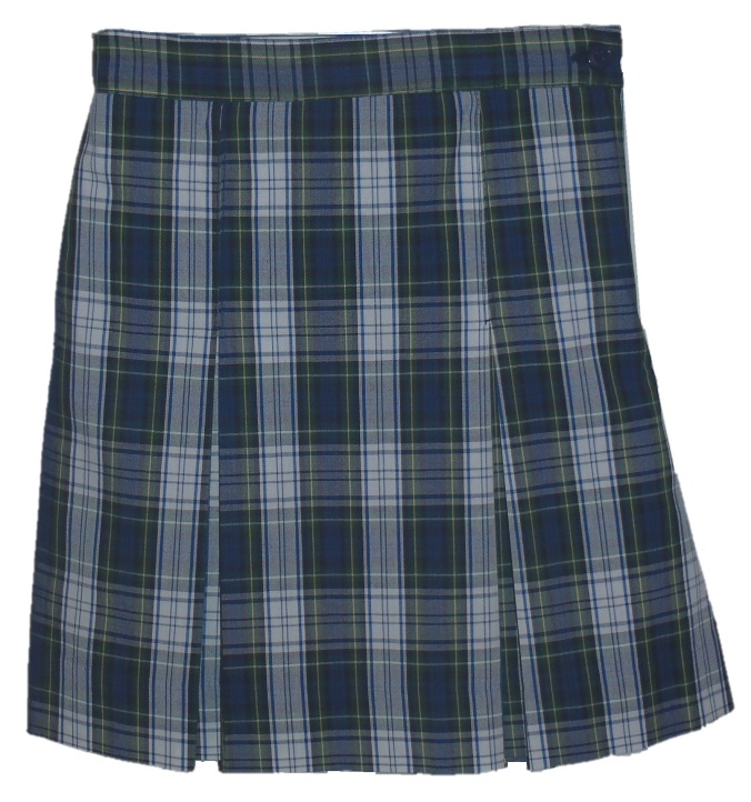 #3480 Box Pleat Skirt - Polyester/Cotton - Plaid #80