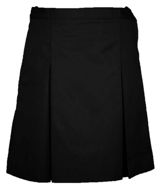 #344Blk Box Pleat Skirt - Polyester/Cotton - Black