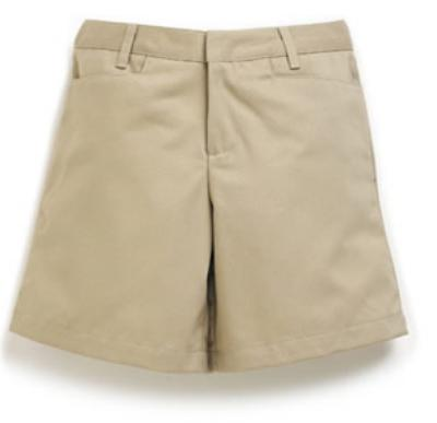 Girls Mid-Rise Super Soft Twill Shorts - Flat Front - #4046 - Khaki