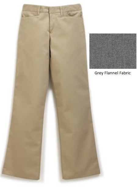 Girls Mid-Rise Flannel Pants - Flat Front - #4058 - Grey