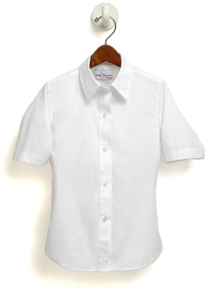 Women's Fitted Oxford Dress Shirt with Dress Collar - Short Sleeve