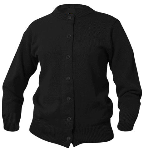 Girls Crewneck Cardigan Sweater - Black