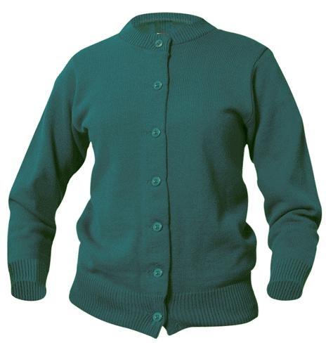 Girls Crewneck Cardigan Sweater - Hunter Green