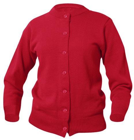 Girls Crewneck Cardigan Sweater - Red