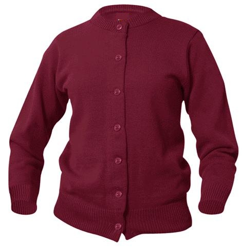 Girls Crewneck Cardigan Sweater - Burgundy