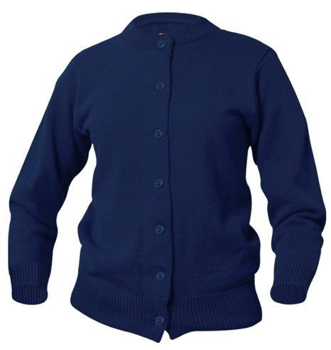 Girls Crewneck Cardigan Sweater - Navy Blue