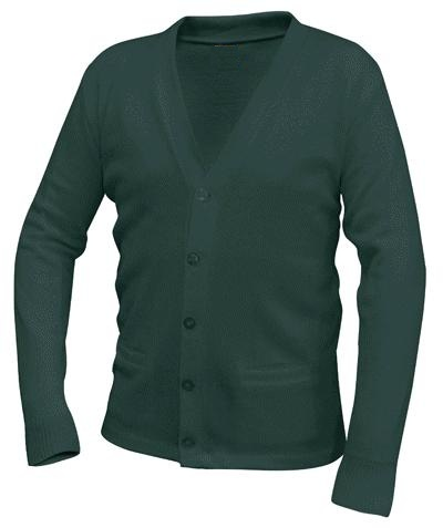 Unisex V-Neck Cardigan Sweater with Pockets - Hunter Green