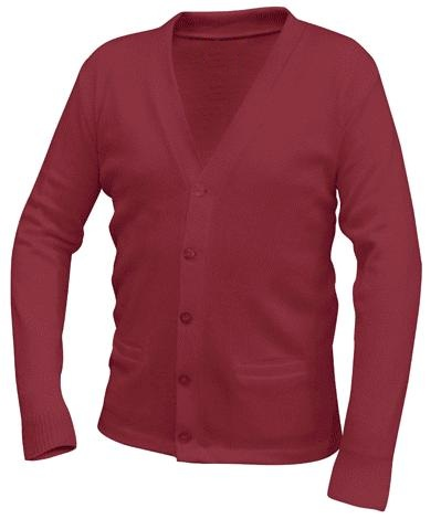 Unisex V-Neck Cardigan Sweater with Pockets - Burgundy