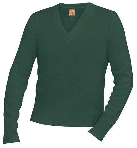 Unisex V-Neck Pullover Sweater - Hunter Green