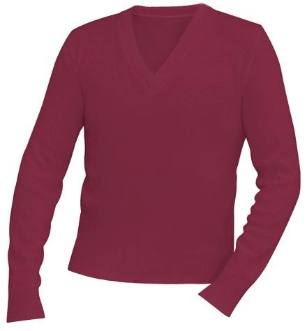 Unisex V-Neck Pullover Sweater - Burgundy