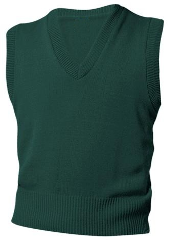 Unisex V-Neck Sweater Vest - Hunter Green