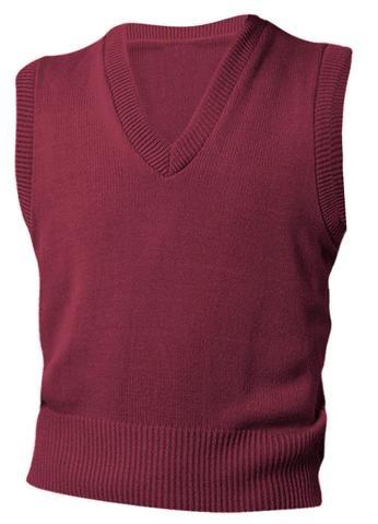 Unisex V-Neck Sweater Vest - Burgundy
