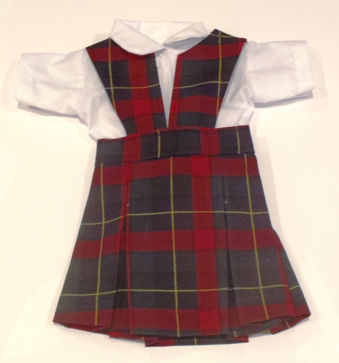 18 Inch Doll Jumper - Split Front with Peter Pan Blouse - Plaid #66