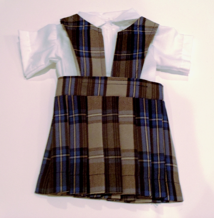 18 Inch Doll Jumper - Split Front with Peter Pan Blouse - Plaid #47