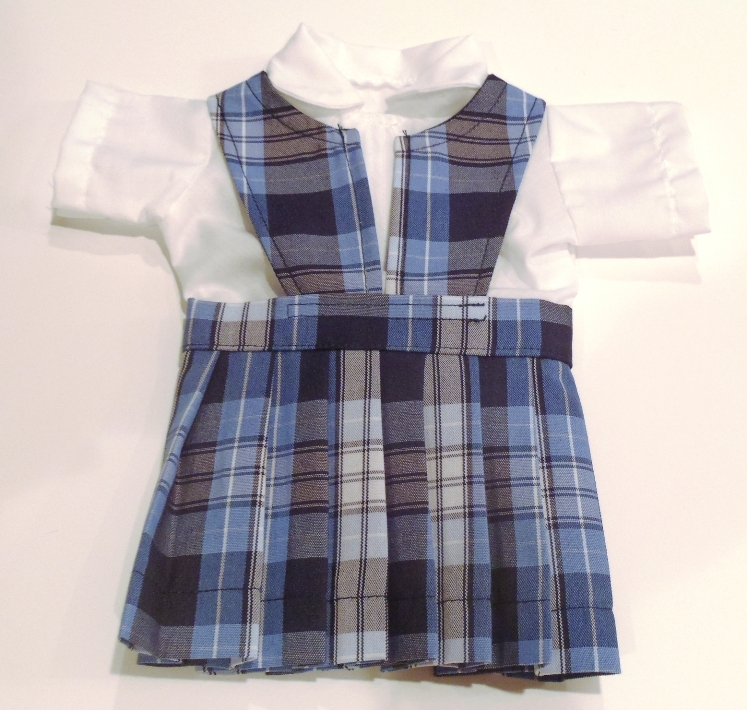 18 Inch Doll Jumper - Split Front with Peter Pan Blouse - Plaid #76