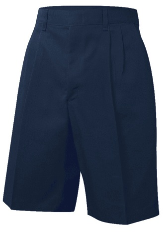 Boys Twill Shorts - Pleated Front - Navy Blue