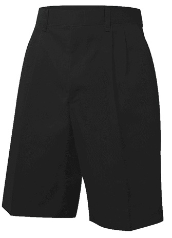 Boys Twill Shorts - Pleated Front - Black