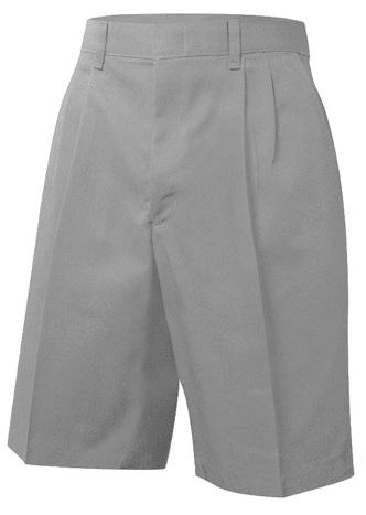 Boys Twill Shorts - Pleated Front - Grey