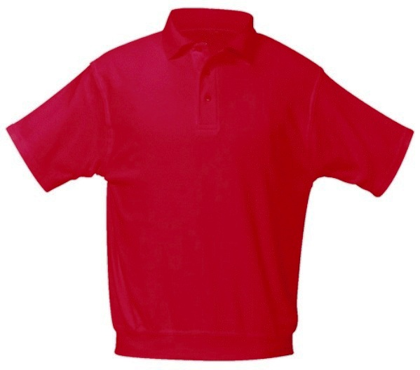 Unisex Interlock Knit Polo Shirt with Banded Bottom - Short Sleeve - Red