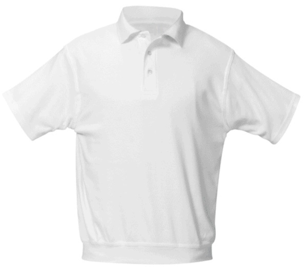 Unisex Interlock Knit Polo Shirt with Banded Bottom - Short Sleeve - White