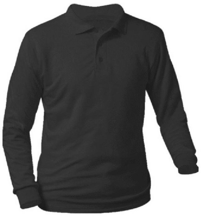 Unisex Interlock Knit Polo Shirt - Long Sleeve - Black