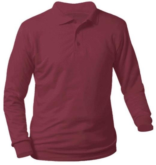 Unisex Interlock Knit Polo Shirt - Long Sleeve - Burgundy