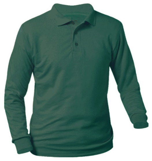 Unisex Interlock Knit Polo Shirt - Long Sleeve - Hunter Green
