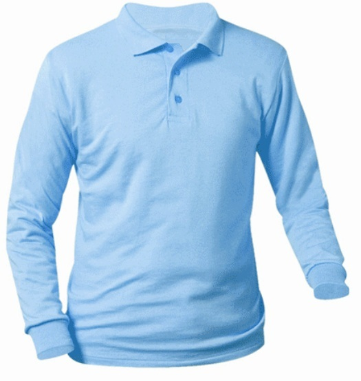 Unisex Interlock Knit Polo Shirt - Long Sleeve - Light Blue