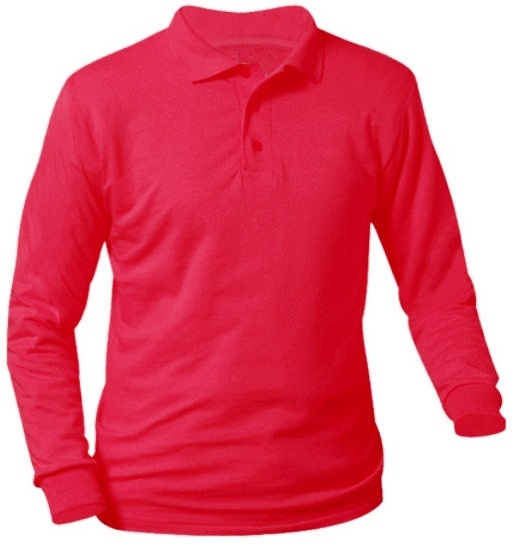 Unisex Interlock Knit Polo Shirt - Long Sleeve - Red