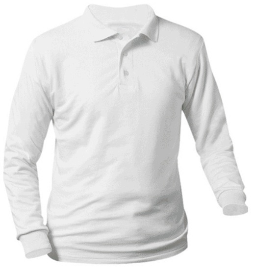 Unisex Interlock Knit Polo Shirt - Long Sleeve - White