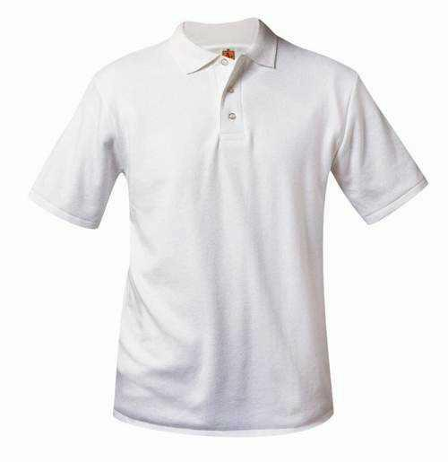 Unisex Interlock Knit Polo Shirt - Short Sleeve - White