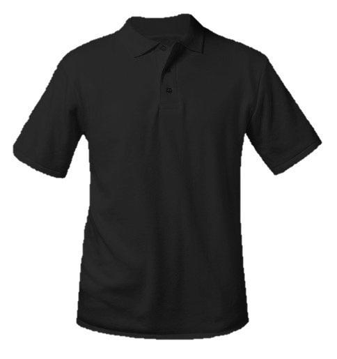 Unisex Interlock Knit Polo Shirt - Short Sleeve - Black