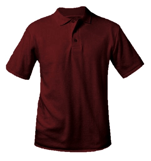 Unisex Interlock Knit Polo Shirt - Short Sleeve - Burgundy