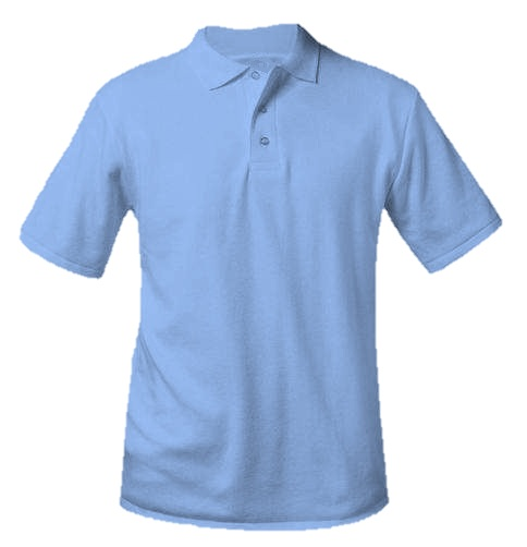 Unisex Interlock Knit Polo Shirt - Short Sleeve - Light Blue