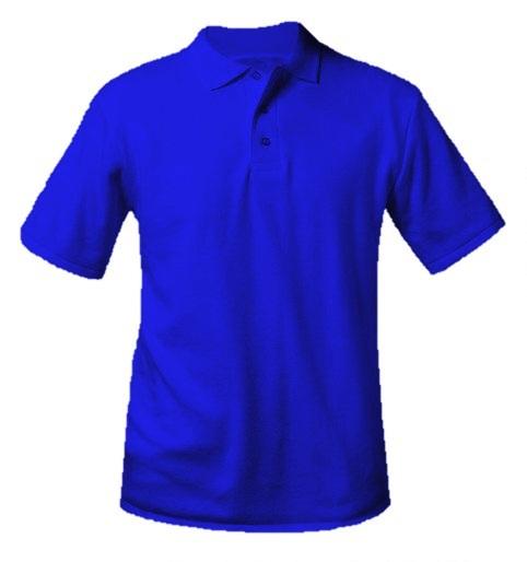 Unisex Interlock Knit Polo Shirt - Short Sleeve - Royal Blue