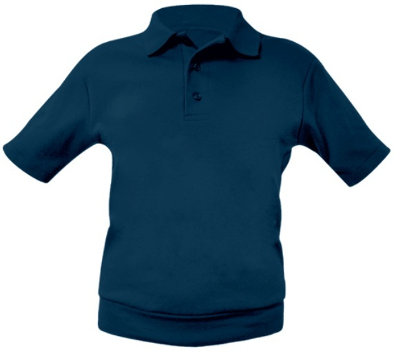 Unisex Interlock Knit Polo Shirt with Banded Bottom - Short Sleeve - Navy Blue
